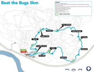 Beat the Bugs 2019 5km course map